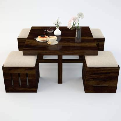 Santosha Decor Sheesham Wood Teapoy Design Center Coffee Table With 4 Stool I Walnut Finish Amazon In Electronics