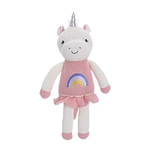 (Cuddle Me Unicorn 100% Cotton Knitted Plush Toy, Mackenzie, Pink/White)