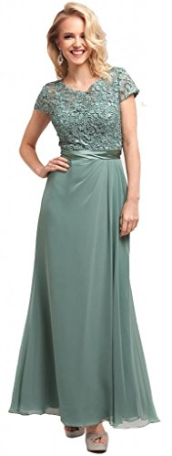 Meier Women's Short Sleeve Embroidery Rhinestoned Mother of Bride Evening Dress