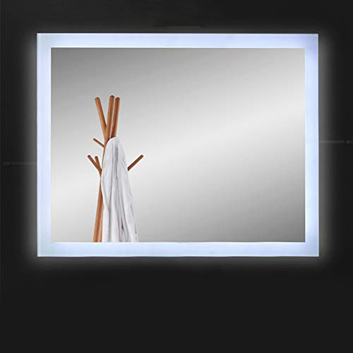 S-AIM Bathroom Mirror Anti-Fog Wall Mounted Makeup Mirror, LED Bedroom Vanity Mirror -