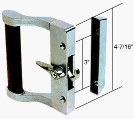 C.R. LAURENCE C1023 CRL Aluminum/Wood Hook Style Surface Mount Handle 3'' Screw Holes by C.R. Laurence