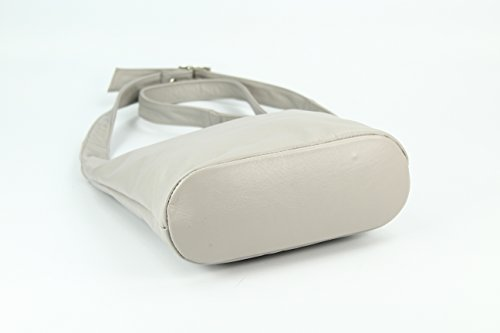 Belli® para Mujer (Napa, italiano bolsa de hombro Cross Over Bag Luz Gris–�?4x 28x 8cm (W x H x D)