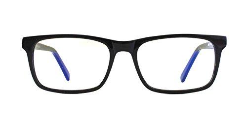Pixel Eyewear Designer Computer Glasses with Anti-Blue Light Tint UV Protection, Anti-Glare, Full Rim, Acetate Frame Black Color - Buteo - Designers Eyewear
