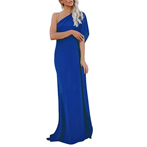 RIUDA Womens One Off Shoulder Sexy High Split Bridesmaid Formal Evening Party Dress Blue ()