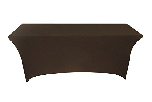 Tina 4 ft. Rectangular Banquet Table Cover Spandex Fitted Stretch Tablecloth Black