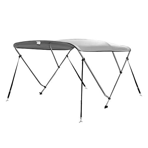 Seamander 3 Bow Bimini Top Boat Cover 4 Straps for Front and Rear Includes with Mounting Hardware(3 Bow 6'Lx 54