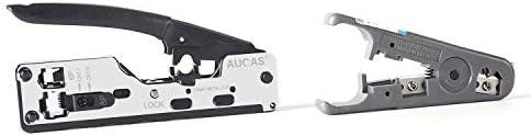 Herramienta de Engarzadora de Red Cat7 Engarzadora de Engarzadora de Red para Alicates RJ45 Adecuado Para Cables Cat5 y Cat5e con Enchufes 8P8C 6P6C y 4P4C