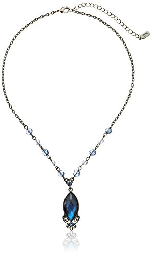 1928-Jewelry-Hematite-Tone-Blue-Pendant-Necklace-16
