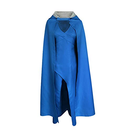 LOLANTA Women Ladies Queen Halloween Costume Fancy Cosplay Outfit Blue Dress+Cloak -