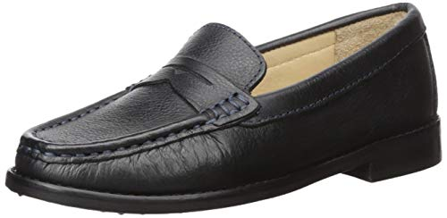 Driver Club USA Unisex Leather Boys/Girls Casual Comfort Slip On Moccasin Penny Loafer Driving Style, Black Grainy, 5 M US Little Kid