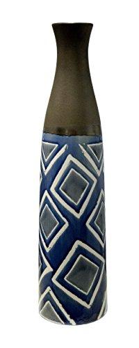 Ceramic Diamond Pattern Vase, 5.5