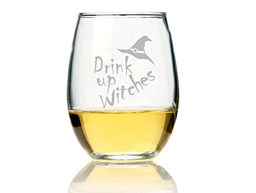 "Chloe and Madison""Drink Up Witches"" Stemless Wine Glass, Set of 4"