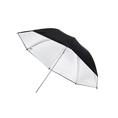 Fovitec - 1x 43 inch Silver Photography & Video Reflector Umbrella - [Easy Set-up][Lightweight][Cast-Iron][Collapsible][Durable Nylon] ()