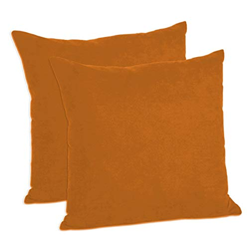 (MoonRest Pack of 2- Suede Square Decorative Throw Pillow Covers Sofa sham Solid Colors Cushion Pillowcases (16 x 16 Rust Orange) )