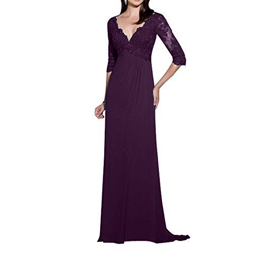 La_mia Brau Chiffon Spitze Langes Abendkleider Brautmutterkleider Festlichkleider Ballkleider Partykleider V-ausschnitt 3/4 Langarm Dunkel Traube n7WJvd