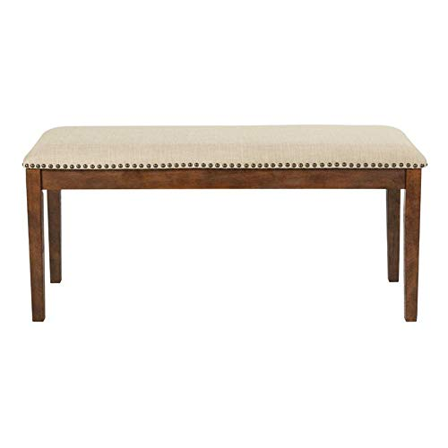 Upholstered Bench 42 Inch Bedside Faux Leather Solid Wood Accent Furniture New