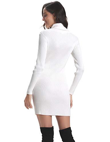 maglia Abollria Top lavorato Bodycon Inverno Bianco Maniche Elegante Dolcevita a Solido Basic Sottoveste Vestitino Pullover Donna Tops Chic Matita Abito lunghe Tunica YwIqrY7