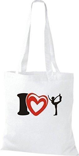 ShirtInStyle La bolsa de asas Bolsa de algodón I Love Yogo Yoga Sport Gimnástico - fucsia Blanco