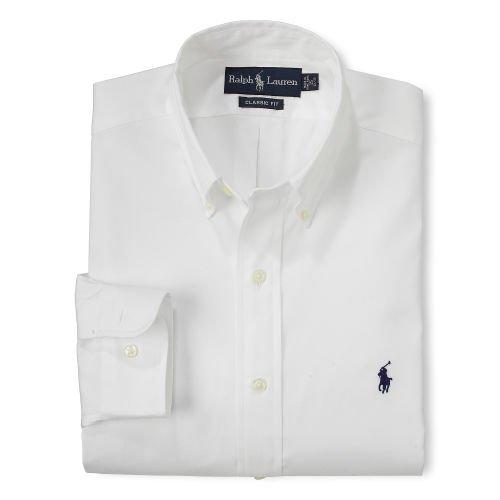 "Polo Ralph Lauren Men's Classic-Fit Pinpoint Dress Shirt, White, 17.5"" Neck 32/33"