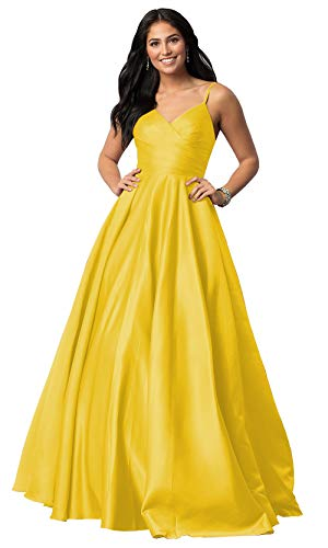 (Women's Plus Size Long Yellow Prom Dresses A Line Spaghetti Strap V Neck Satin Evening Gown Pleated Bodice Size 18W)