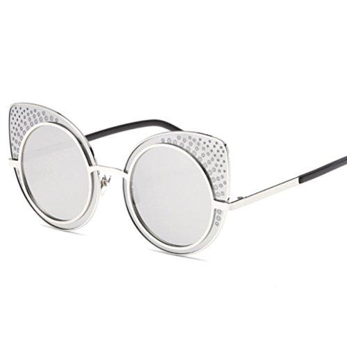 Colorful YANJING pour Soleil ZYXCC Eye Sunglasses Femmes de de et Lunettes Retro Soleil Lunettes Argent Cat Hommes rxZxwOt