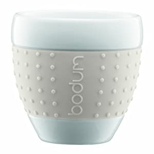 Bodum Pavina Porcelain Cups With Silicone Grip, 2 1/2 Ounce, White, Set Of 2