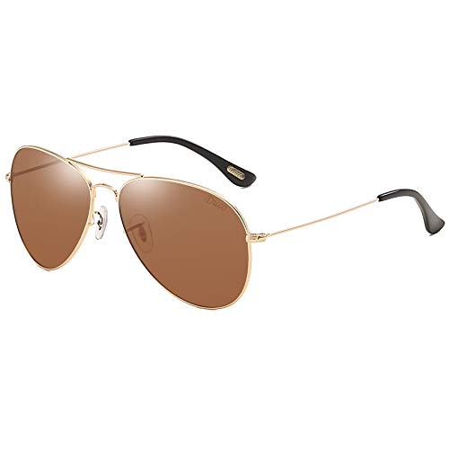 DUCO Men's and Women's Pilot Style Classic Polarized Sunglasses 3025 (Gold Frame Brown Lens)