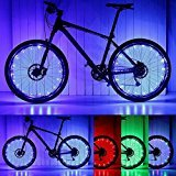 PAMASE 2 Packs Waterproof Bike Wheel Light - 20 LED Lamp Bead Strip for Bicycle Spokes and Rims