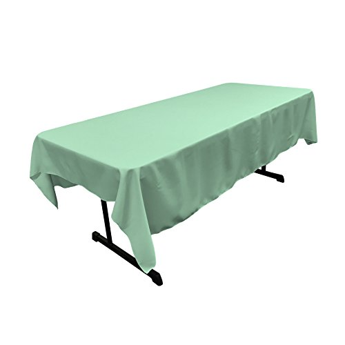 LA Linen Polyester Poplin Rectangular Tablecloth, 60 x 90, Mint