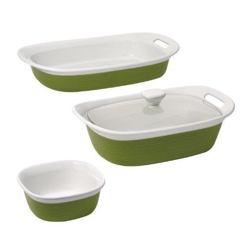 CorningWare Etch 4-Piece Bakeware Set, Grass