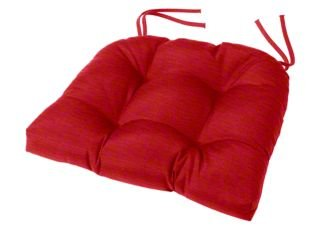 Cushion Source Tufted Chair Cushion 18 x 16 x 4 Chair Pad Indoor Outdoor Sunbrella Jockey Red 5403-0000
