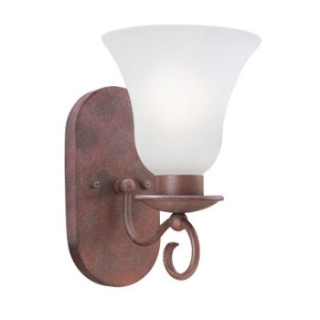 - Thomas Lighting SL8501-81 Phoenix - One Light Wall Sconce, Tile Bronze Finish with Blown Etched Seedy Glass