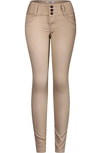 Khaki Ankle Pants (2LUV Women's 3 Button Stretchy Uniform Pants Skinny Color Jeans Khaki Circles 11)