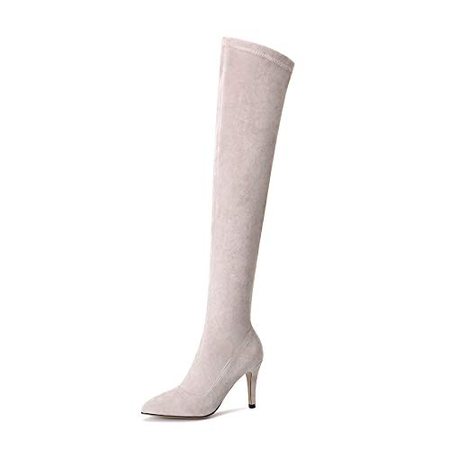 HAOLIEQUAN Frauen Frauen Frauen Über Die Stiefel Thin High Heel Schuhe Reißverschluss Winter Schuhe Frau Motorrad Größe 34-43  02fd85