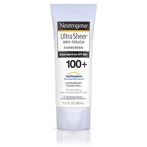 Neutrogena Ultra Sheer Dry-Touch Water Resistant and Non-Greasy Sunscreen Lotion with Broad Spectrum SPF 100+, 3 fl. oz (Best Facial Sunscreen For African American Skin)