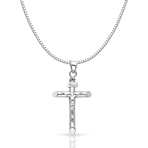 14K White Solid Gold Crucifix