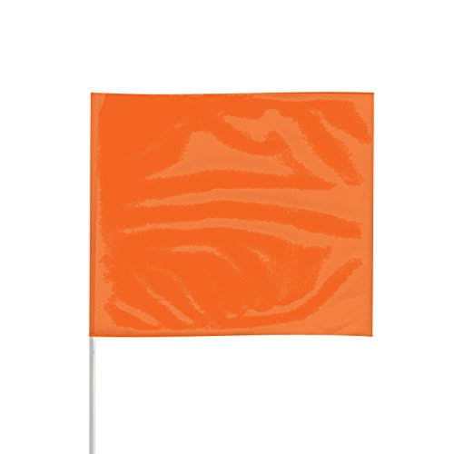 Presco Plastic Staff Marking Flags: 4 in. x 24 in. (Neon Orange) [1 Pack of 12 Flags]