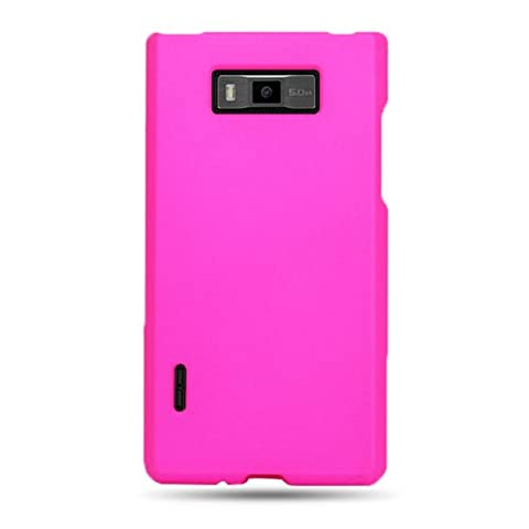 CoverON® Matte Snap-On HOT PINK RUBBERIZED Hard Case Cover For LG US730 AS730 SPLENDOR / VENICE / OPTIMUS SHOWTIME L86c / OPTIMUS ULTIMATE With PRY-Triangle Case Removal Tool (Phone Cases For Lg L86c Optimus)