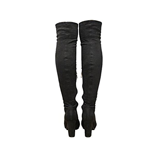 Heel SAUTE Knee Over 3 Stiletto Stretch Boots High The 8 Shoes Black Suede Ladies STYLES Thigh qBrRwq8f