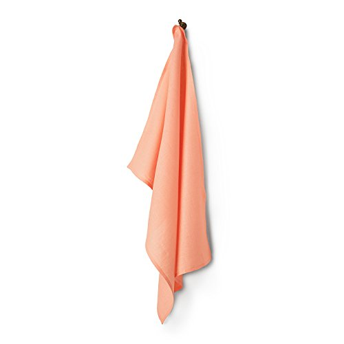 100% Pure Linen Oversized Kitchen Towel, Linen Dish Towel Natura With Loop for Hanging, 20 x 30 Inch Peach Kitchen Towel by Solino Home
