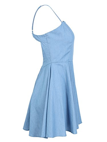 Pleated Dress Backless Apparel Simplee Blue Women's Strappy Flared Mini Adjustable qZ6xpw