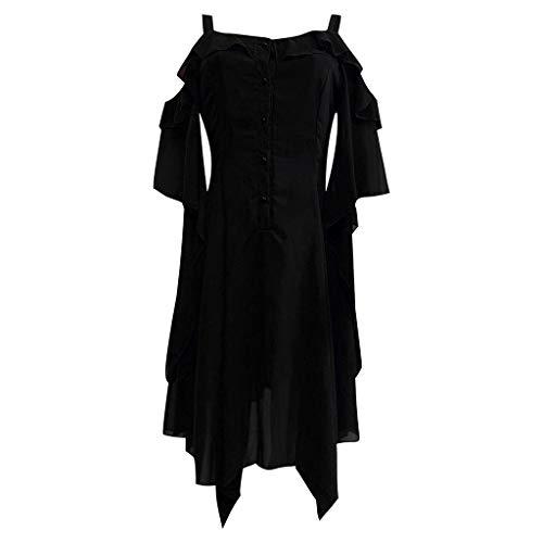 DondPo Women's Fashion Dress Gothic Irregular Ruffle Skirt Sleeves Off Shoulder Gothic Midi Dresses for Halloween Black -