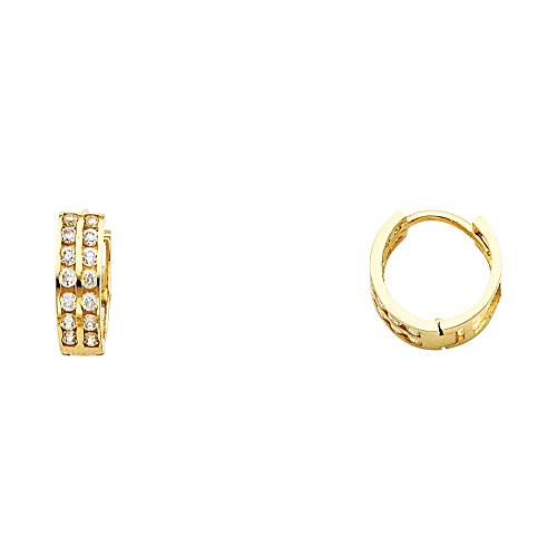 Solid 14k Yellow Gold CZ Huggie Hoop Earrings Huggies Round CZ Two Row Pave Set Polished Small 11 mm ()