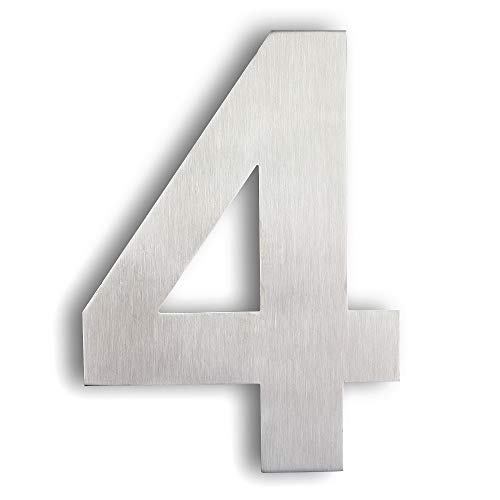Mellewell Modern Floating House Numbers, Super Large 10 Inch, Stainless Steel 304 Brushed Nickel, Number 4 Four (Stainless Steel House Number)