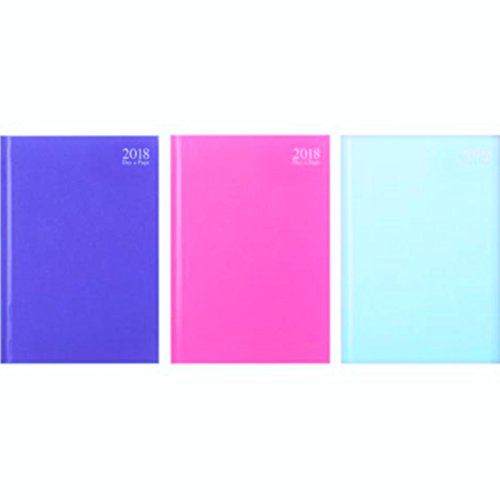 2018 A4 Day To View Desk Diary - Assorted Colours - 3488
