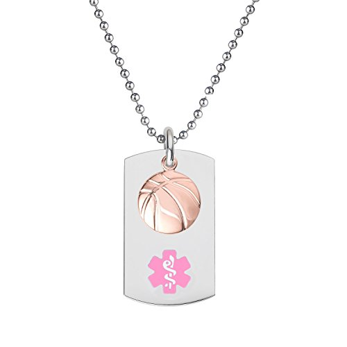 Divoti-Custom-Engraved-316L-Medical-Alert-Necklace-24-Ball-Chain-Dog-Tag-PVD-Rose-Gold-Basketball-Dangle-Charm