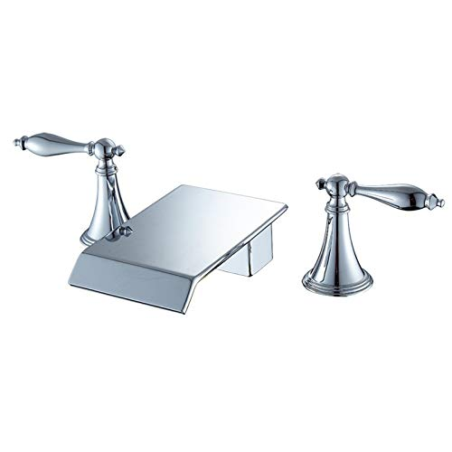 - Wooteet Faucethot And Cold Water Kitchen, Chrome,1 Bathroom Washbasin Waterfall Three-Piece Set Three-Hole Double Seat Basin Faucet