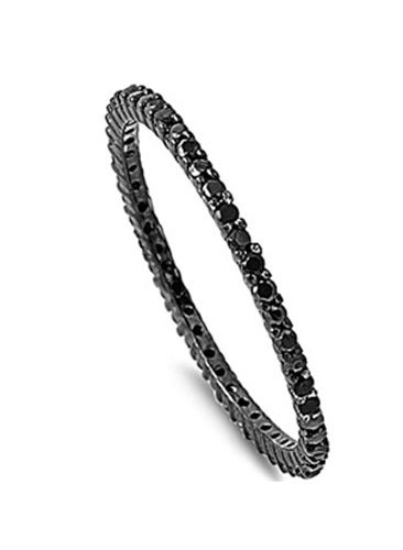 Square Stacking Ring (Sterling Silver Black Plated Classy Stackable Ring with Black Simulated Crystals on Square Half-Bezel Setting with Rhodium Finish, Band Width 1.5MM - Crazy2Shop)