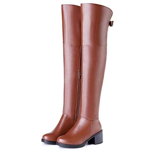 En Cuissardes Pu Chaussures À Bloc Marron Talon Bottes Zipper Sexy Coolcept Cavalières Femmes Cuir Boots waHgUqaIx