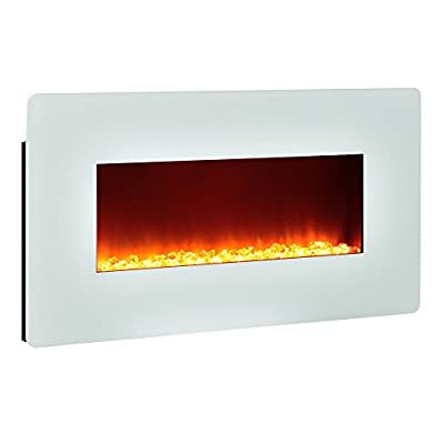 Altra Furniture Kenna 35 Wall Mount Fireplace, White